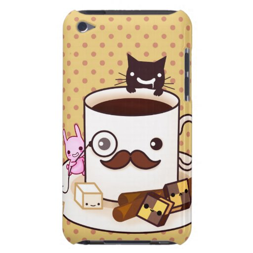 Cute mustache coffee cup with kawaii animals iPod Case-Mate cases