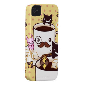 Cute mustache coffee cup with kawaii animals Case-Mate iPhone 4 case