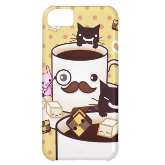 Cute mustache coffee cup with kawaii animals cover for iPhone 5C
