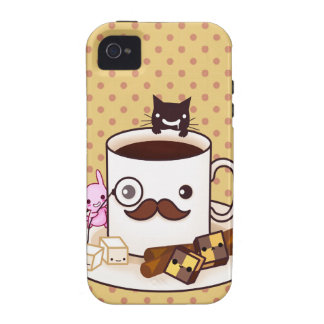 Cute mustache coffee cup with kawaii animals iPhone 4/4S cases