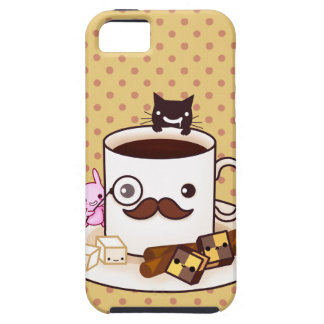 Cute mustache coffee cup with kawaii animals iPhone 5 cover