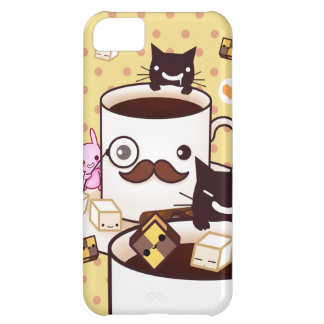 Cute mustache coffee cup with kawaii animals iPhone 5C case