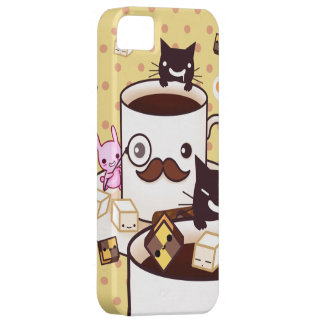 Cute mustache coffee cup with kawaii animals iPhone SE/5/5s case