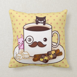 Cute mustache coffee cup with kawaii animals throw pillow