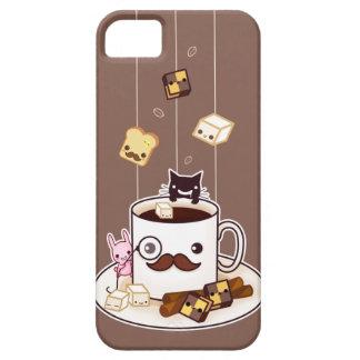 Cute mustache coffee mug with kawaii animals iPhone SE/5/5s case