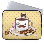 Cute mustache cup with kawaii animals and biscuits laptop sleeves