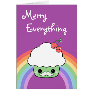 Cute Mustache Cupcake Holiday Card
