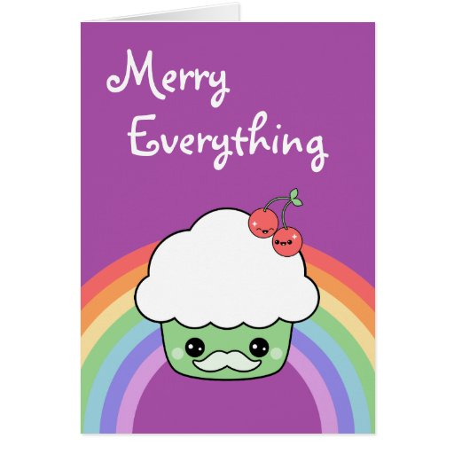Cute Mustache Cupcake Holiday Greeting Card
