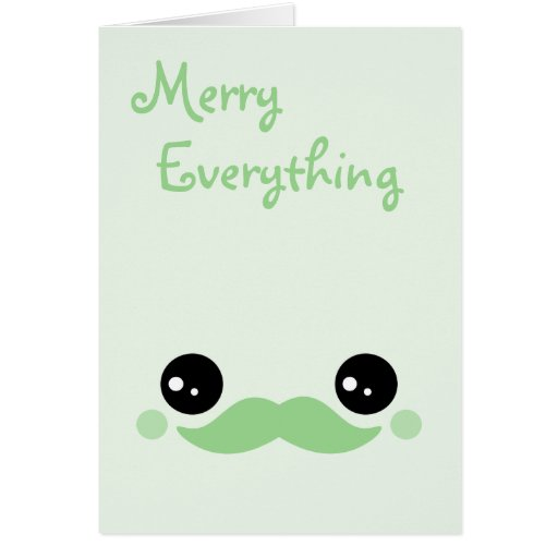Cute Mustache Holiday Greeting Card