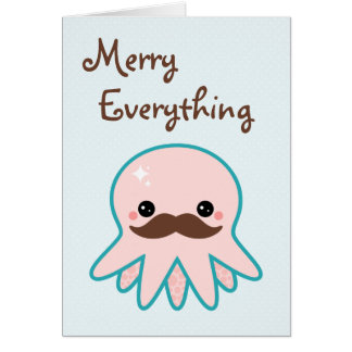 Cute Mustache Octopus Holiday Greeting Card
