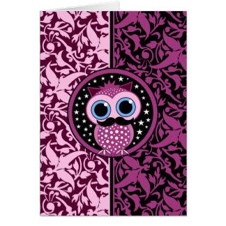 cute mustache owl card