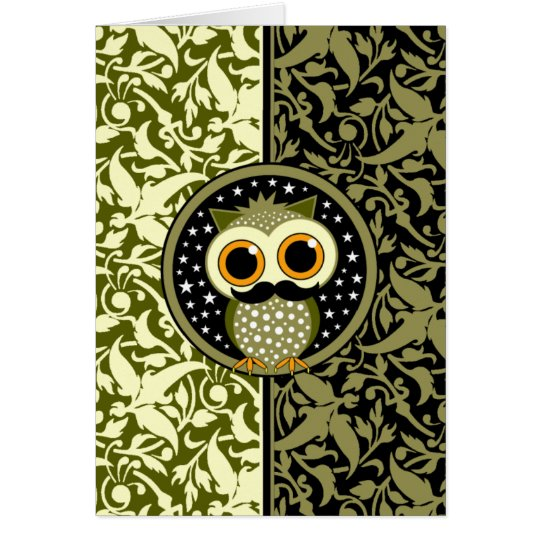 cute mustache owl card