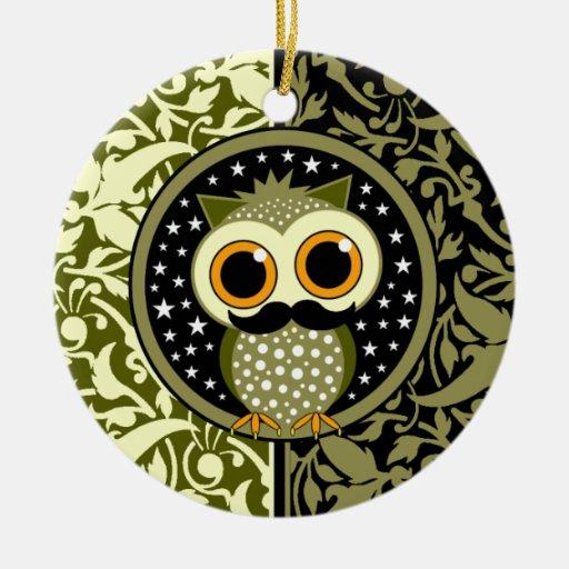cute mustache owl ceramic ornament