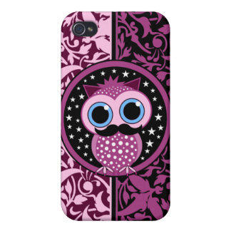 cute mustache owl iPhone 4/4S case