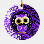 cute mustache owl Double-Sided ceramic round christmas ornament