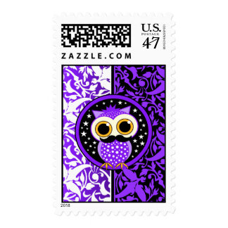 cute mustache owl postage