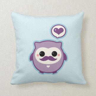 Cute Mustache Owl Throw Pillow