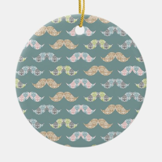 Cute Mustache Pattern with Damask Overlays Ceramic Ornament