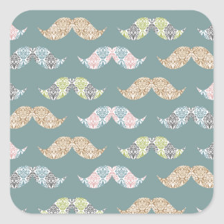 Cute Mustache Pattern with Damask Overlays Square Sticker