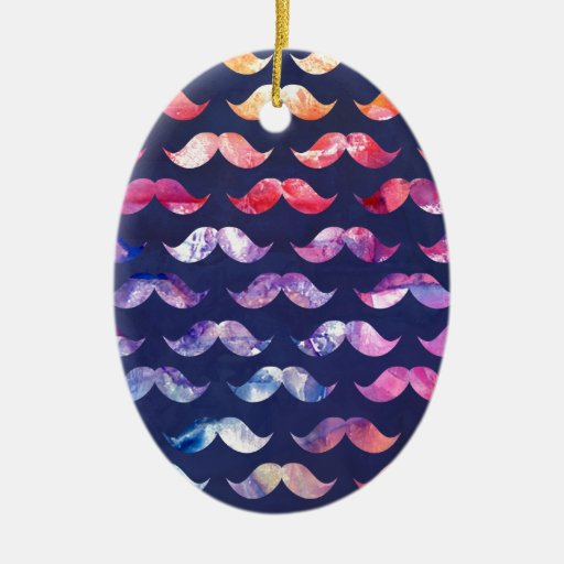 Cute Mustache Pattern with Watercolor Overlays Ceramic Ornament