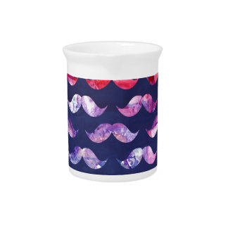 Cute Mustache Pattern with Watercolor Overlays Drink Pitcher