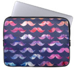 Cute Mustache Pattern with Watercolor Overlays Computer Sleeves