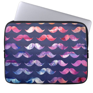 Cute Mustache Pattern with Watercolor Overlays Laptop Sleeve