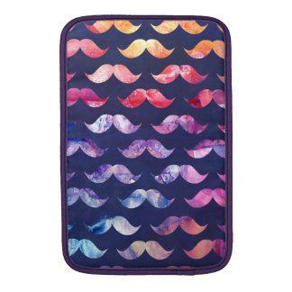 Cute Mustache Pattern with Watercolor Overlays MacBook Sleeve