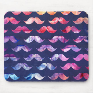 Cute Mustache Pattern with Watercolor Overlays Mouse Pad