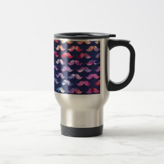 Cute Mustache Pattern with Watercolor Overlays Travel Mug