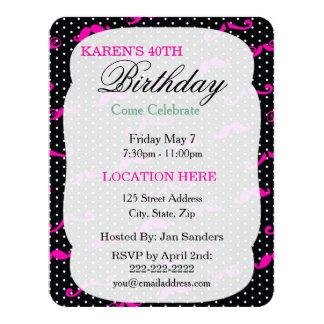 """Cute Mustache polkadot invitation template 4.25"""" X 5.5"""" Invitation Card"""