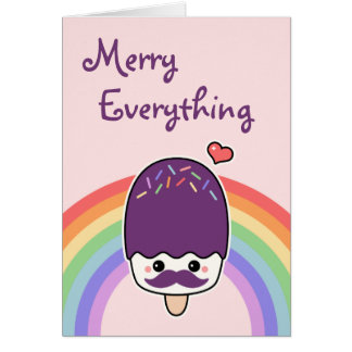 Cute Mustache Popsicle Holiday Card