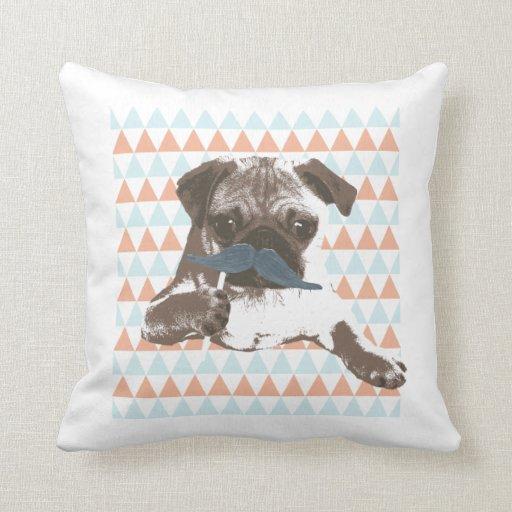 Cute Mustache Pug Colorful Triangle Pattern Pillow Zazzle