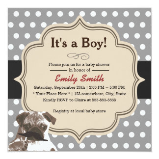 Cute Mustache Pug Polka Dots Baby Shower Card
