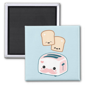 Cute Mustache Toaster 2 Inch Square Magnet