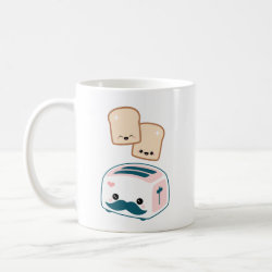 Classic White Mug with Cute Kawaii Mustache design