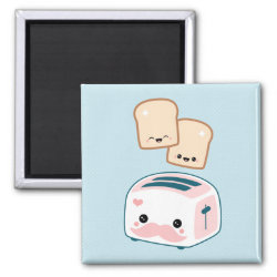 Square Magnet with Cute Kawaii Mustache design