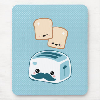 Cute Mustache Toaster Mouse Pad
