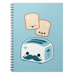 Photo Notebook (6.5' x 8.75', 80 Pages B&W) with Cute Kawaii Mustache design