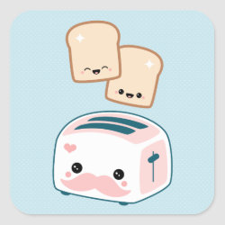 Square Sticker with Cute Kawaii Mustache design