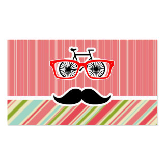 Cute Mustache with Coral & Green Stripes Business Card