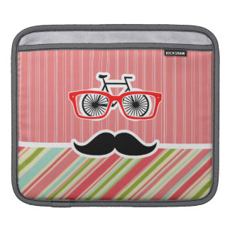 Cute Mustache with Coral & Green Stripes Sleeves For iPads