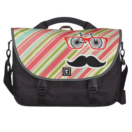 Cute Mustache with Coral & Green Stripes Laptop Messenger Bag