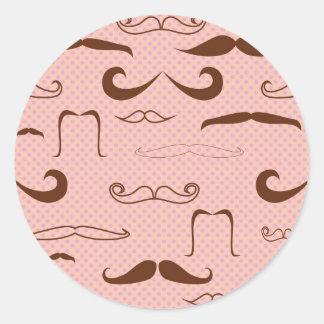 Cute mustaches classic round sticker