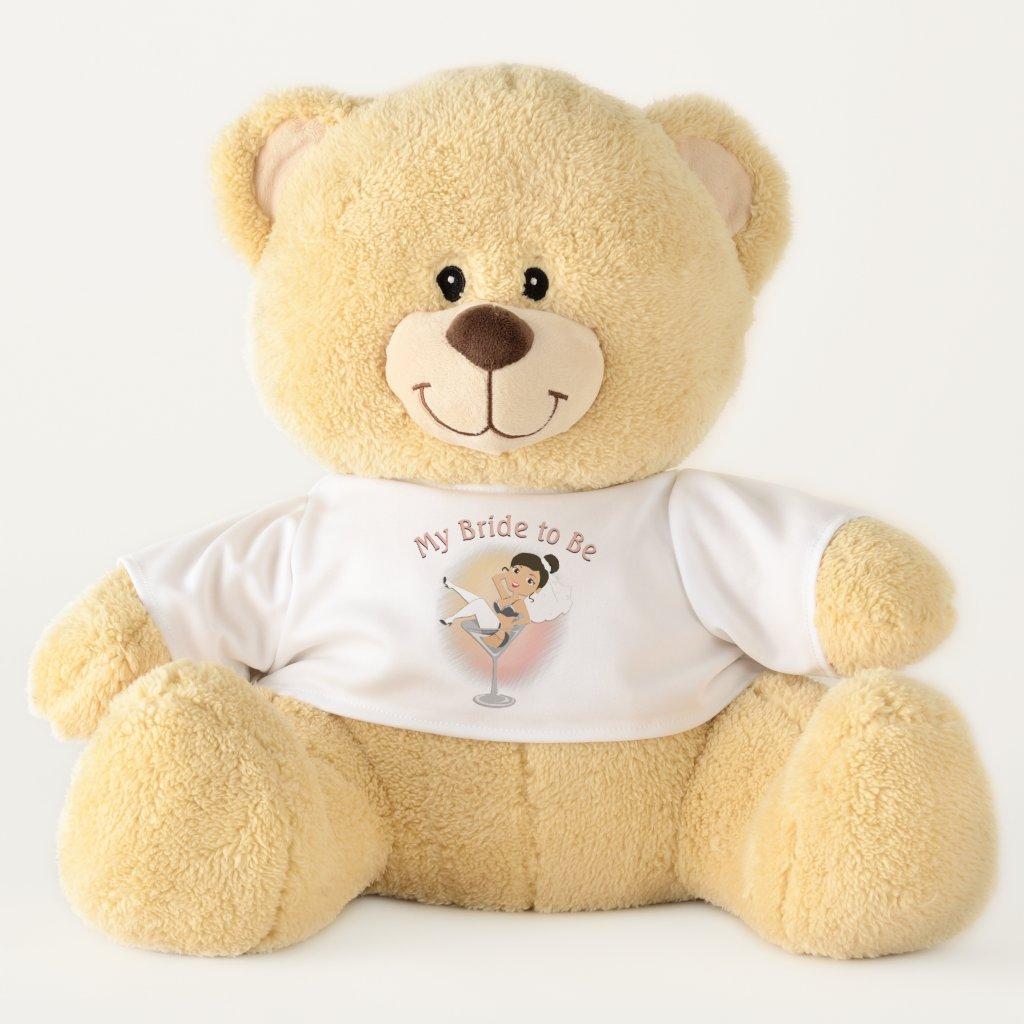 Cute My Bride to Be Dark Hair Teddy Bear
