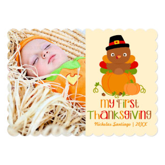 Cute My First Thanksgiving Personalized Photo 5x7 Paper Invitation Card