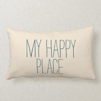 Cute My Happy Place Blue and Beige Sleeping Throw Pillow