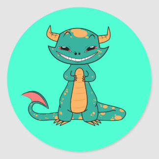 Cute Mythical Dragon Smiling Classic Round Sticker