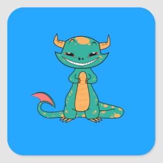 Cute Mythical Dragon Smiling Square Sticker