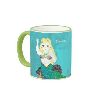 Cute Mythical Mermaid Personalized Ringer Mug